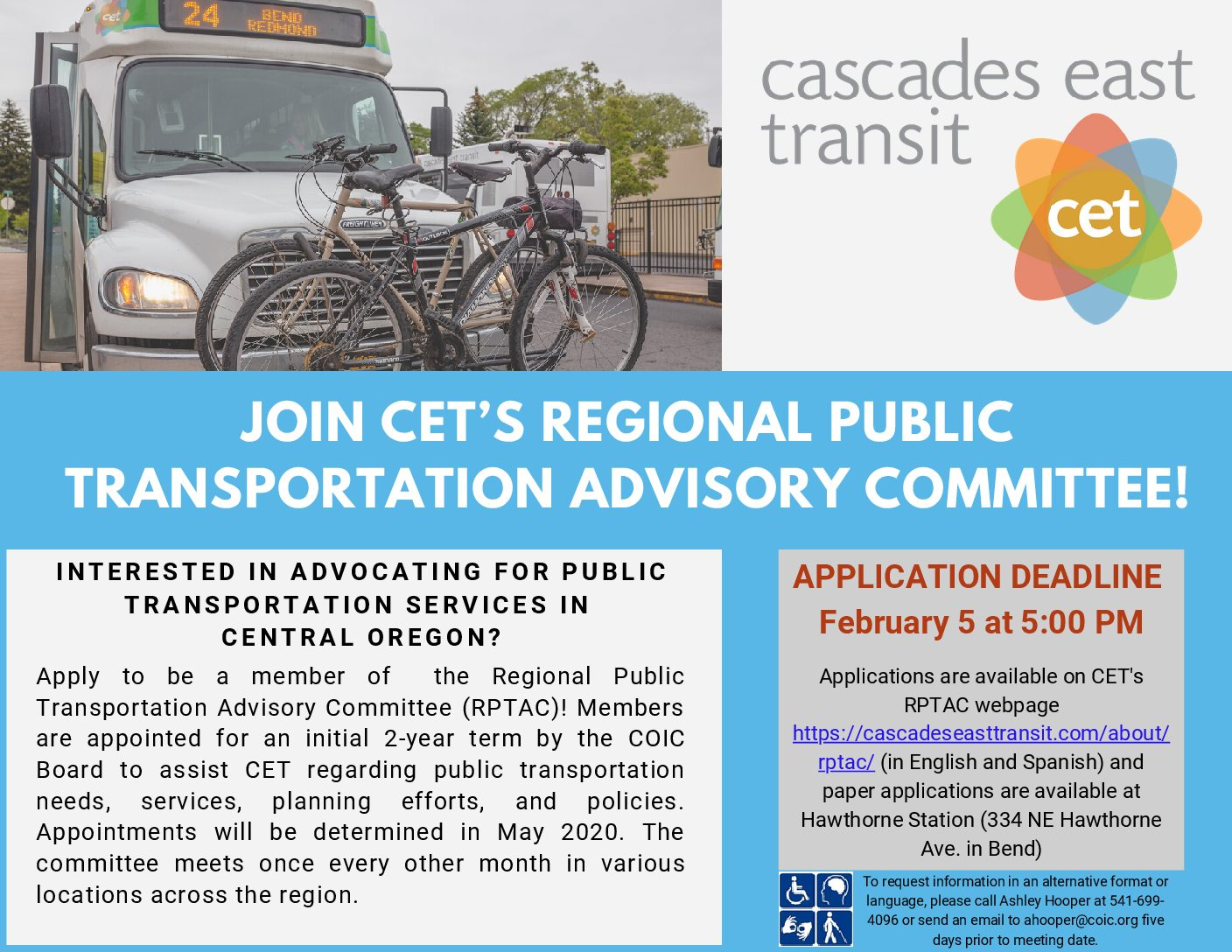 Join the Regional Public Transportation Committee in Central Oregon